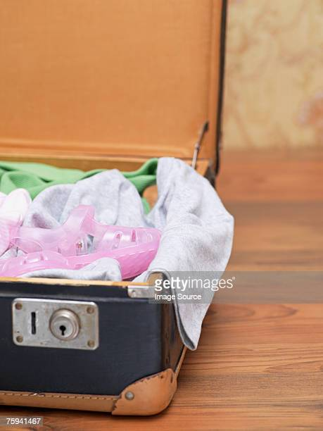childs suitcase - jelly shoe stock pictures, royalty-free photos & images