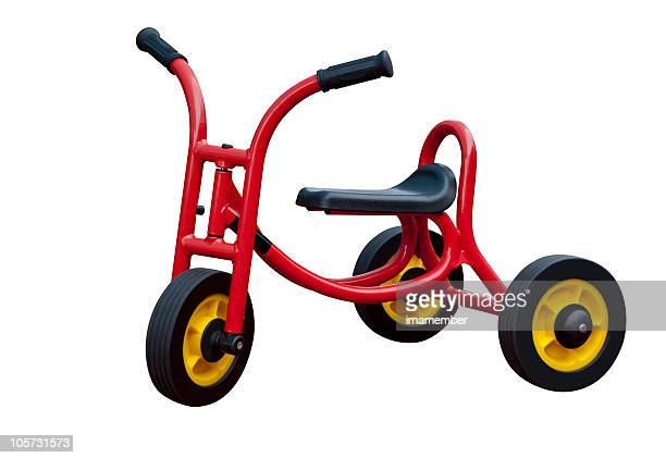 childs tricycle red modern, isolated on white background - tricycle stock pictures, royalty-free photos & images