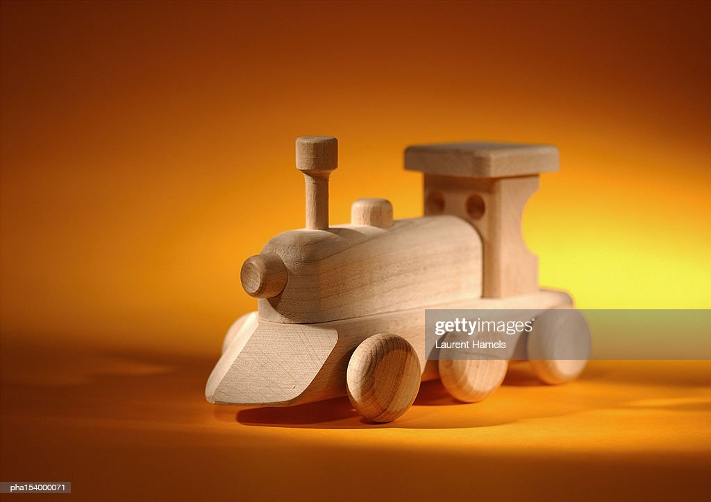 Child's wooden train engine. : Stockfoto