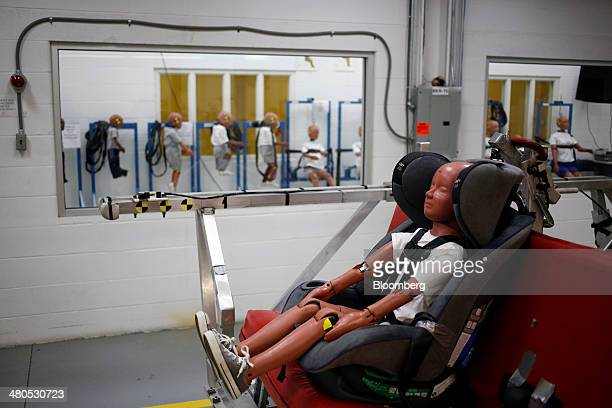 A childsized crash test dummy is pictured before undergoing a 30 mile per hour crash test at the Dorel Technical Center car seat testing facility in...