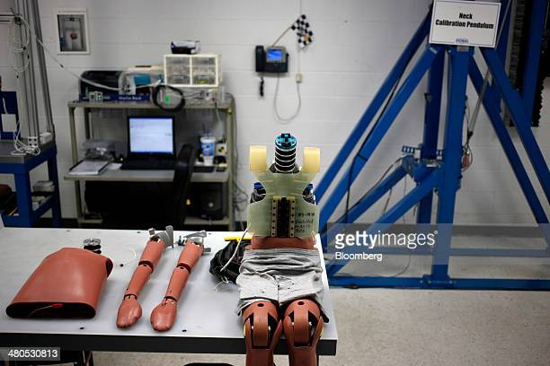A childsized crash test dummy sits on a table at the Dorel Technical Center car seat testing facility in Columbus Indiana US on Tuesday March 25 2014...