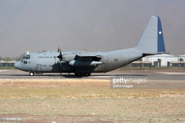 Chile Air Force Lockheed C130 Hercules seen ready to leave Santiago airport