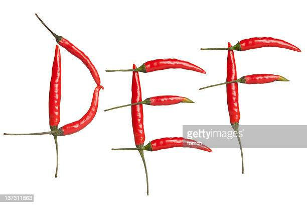 alfabeto de pimenta - letra e - fotografias e filmes do acervo