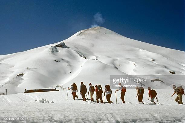 Chile, Chilean Lake District, people climbing Villarica volcano