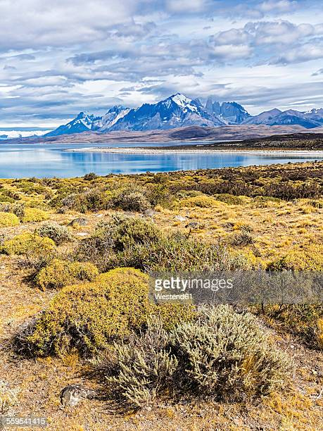 Chile, Cordillera del Paine, view to Sarmiento Lake and Torres del Paine in the background