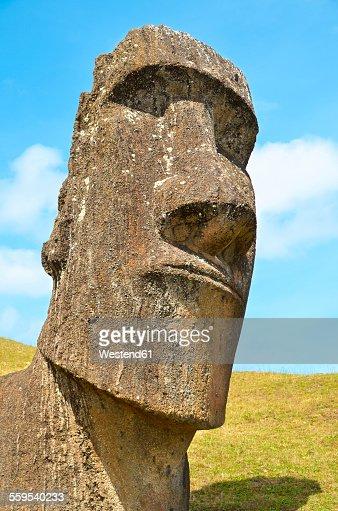 Chile Easter Island Moai Stone Head In Rano Raraku Quarry