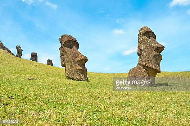 Chile, Easter Island, Moai stone heads in Rano Raraku quarry, Rapa Nui National Park
