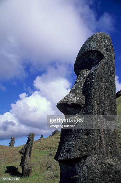Chile Easter Island Rano Raraku Quarry Moai Statues On Hillside