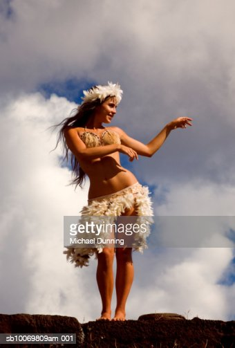 Chile Easter Island Young Woman Dancing Low Angle View