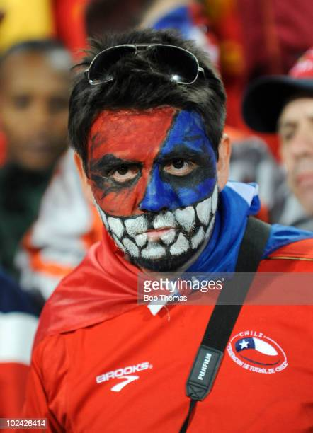 Chile fan before the start of the 2010 FIFA World Cup South Africa Group H match between Chile and Spain at Loftus Versfeld Stadium on June 25 2010...