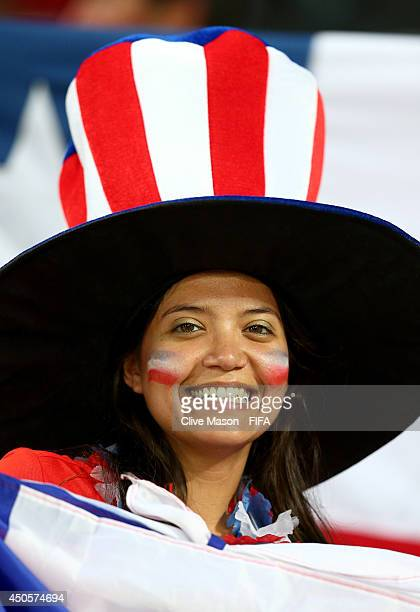 Chile fan cheers prior to the 2014 FIFA World Cup Brazil Group B match between Chile and Australia at Arena Pantanal on June 13, 2014 in Cuiaba,...