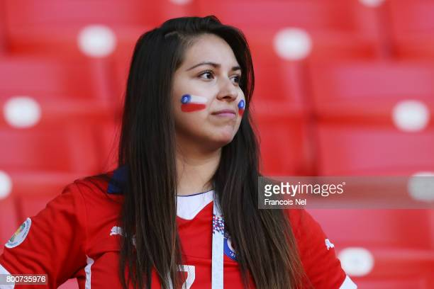 Chile fan looks on prior to the FIFA Confederations Cup Russia 2017 Group B match between Chile and Australia at Spartak Stadium on June 25 2017 in...
