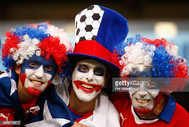 Chile fans enjoy the atmosphere before the 2014 FIFA World Cup Brazil Group B match between Chile and Australia at Arena Pantanal on June 13 2014 in...