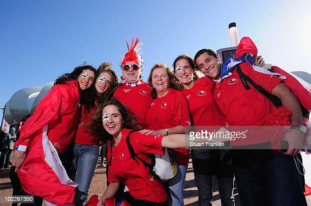 Chile fans enjoy the atmosphere prior to the 2010 FIFA World Cup South Africa Group H match between Chile and Switzerland at Nelson Mandela Bay...