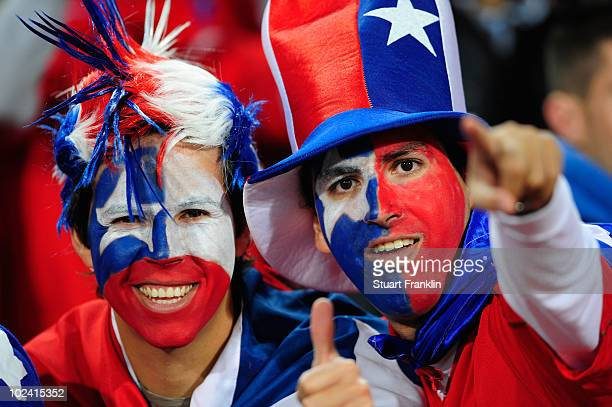 Chile fans enjoy the atmosphere prior to the 2010 FIFA World Cup South Africa Group H match between Chile and Spain at Loftus Versfeld Stadium on...