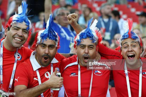 Chile fans enjoy the pre match atmosphere prior to the FIFA Confederations Cup Russia 2017 Group B match between Cameroon and Chile at Spartak...