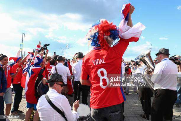 Chile fans gather prior to the FIFA Confederations Cup Russia 2017 Group B match between Cameroon and Chile at Spartak Stadium on June 18 2017 in...