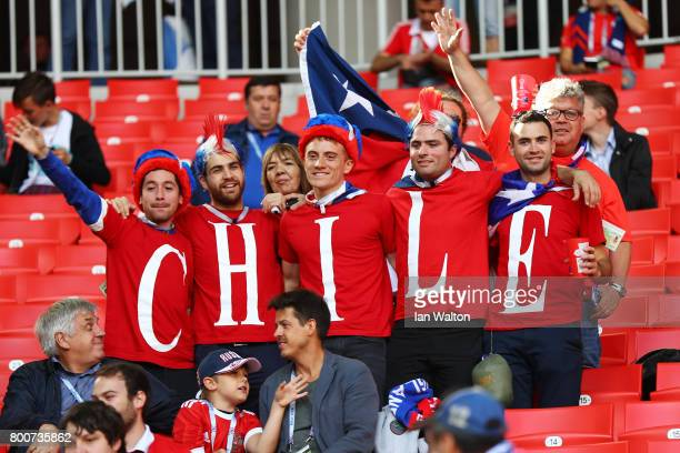 Chile fans hold up a homemade banner prior to the FIFA Confederations Cup Russia 2017 Group B match between Chile and Australia at Spartak Stadium on...