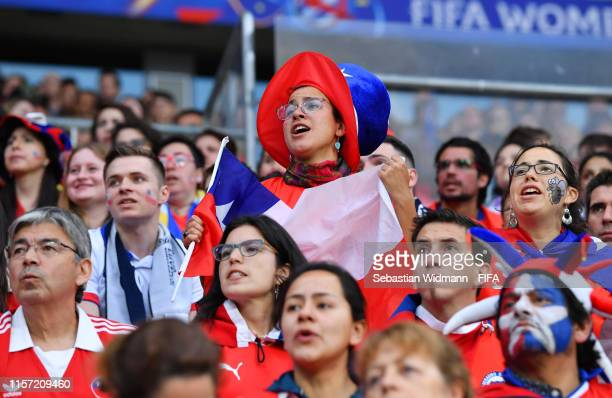 Chile fans look on during the 2019 FIFA Women's World Cup France group F match between Thailand and Chile at Roazhon Park on June 20 2019 in Rennes...