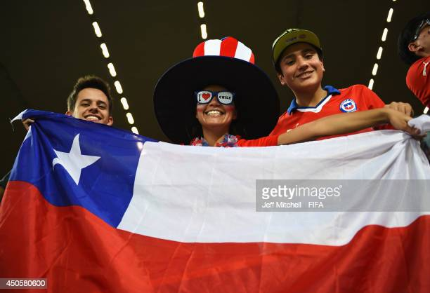 Chile fans soak up the atmosphere during the 2014 FIFA World Cup Brazil Group B match between Chile and Australia at Arena Pantanal on June 13 2014...