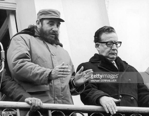 Chile Fidel CASTRO and Salvadore ALLENDE in Punta Arenas Tierra del Fuego 19711100 Chili Fidel CASTRO et Salvador ALLENDE à Punta Arenas