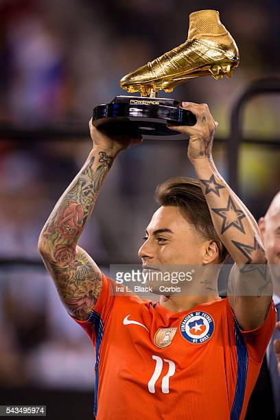 Chile forward Eduardo Vargas accepts the Golden Boot award from after winning the match during the Copa America Centenario Final Argentina vs Chile...