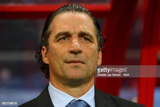 Chile Head Coach / Manager Juan Antonio Pizzi looks on prior to the FIFA Confederations Cup Russia 2017 SemiFinal match between Portugal and Chile at...