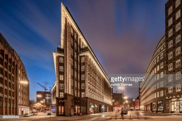 chile house, hamburg, germany, europe - städtische straße stock pictures, royalty-free photos & images