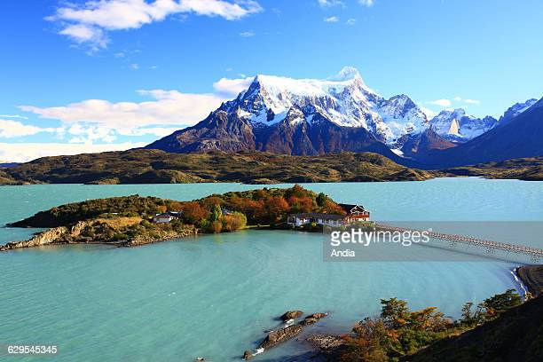 Chile Lago Pehoe in the Torres del Paine National Park situated between the Andes mountain range and the Patagonian steppe