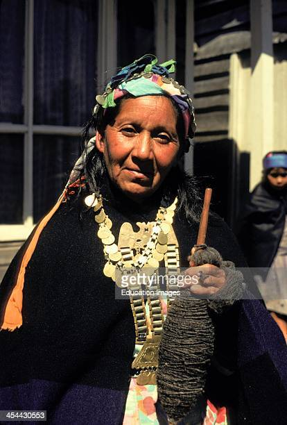 Chile Lake District Mapuche Indian Woman In Traditional Clothing