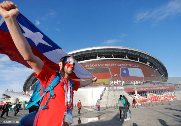 Chile national team supporter near Kazan Arena before the Group B FIFA Confederations Cup Russia 2017 match between Germany and Chile at Kazan Arena...