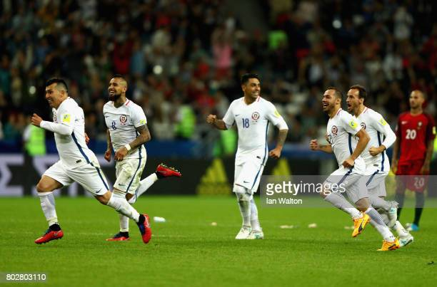 Chile players celebrate after their victory through the penalty shootout during the FIFA Confederations Cup Russia 2017 SemiFinal between Portugal...