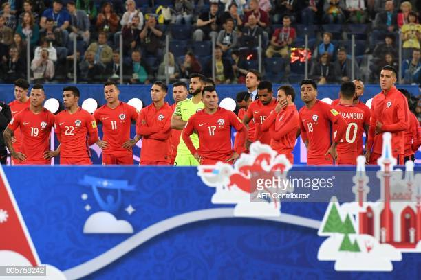Chile players wait for the awards ceremony after loosing to Germany 10 in the 2017 Confederations Cup final football match between Chile and Germany...