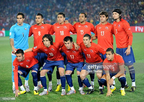 Chile pose for a team group before the start of the 2010 FIFA World Cup South Africa Group H match between Chile and Spain at Loftus Versfeld Stadium...