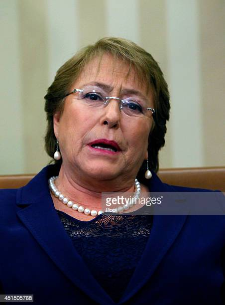 Chile President Michelle Bachelet meets with US President Barack Obama in the Oval Office of the White House June 30 2014 in Washington DC The pair...