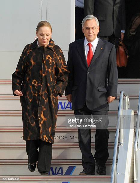 Chile President Sebastian Pinera and his wife Cecilia Morel are seen on arrival at Haneda International Airport to attend the AsiaPacific Economic...