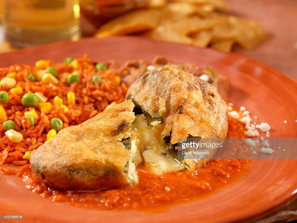Chile relleno - Stuffed poblano pepper : Stock Photo