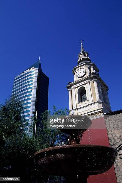 Chile Santiago Downtown San Francisco Church Modern Building Modern Architecture Old And New