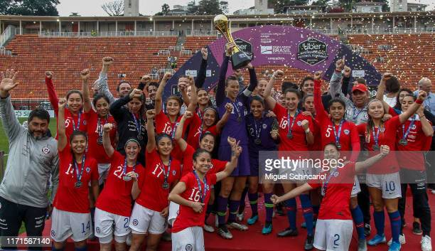 Chile teammate celebrates after winning Uber International Cup 2019 after a match between Brazil and Chile at Pacaembu Stadium on September 01, 2019...