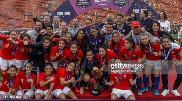 Chile teammate celebrates after winning Uber International Cup 2019 after a match between Brazil and Chile at Pacaembu Stadium on September 01 2019...