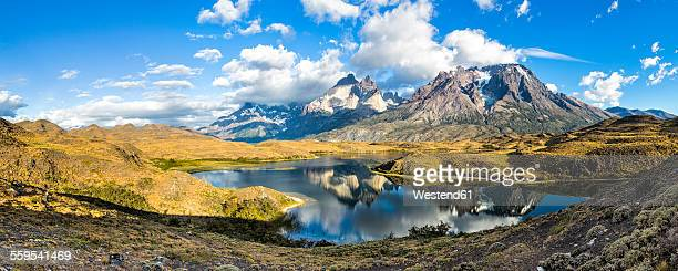 chile, torres del paine national park, cordillera del paine - torres del paine national park stock photos and pictures