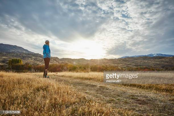 chile, valle chacabuco, parque nacional patagonia, woman standing in steppe landscape at sunset - semi arid stock pictures, royalty-free photos & images