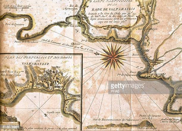 Chile Valparaiso Map in 1713 after an engraving of 1717