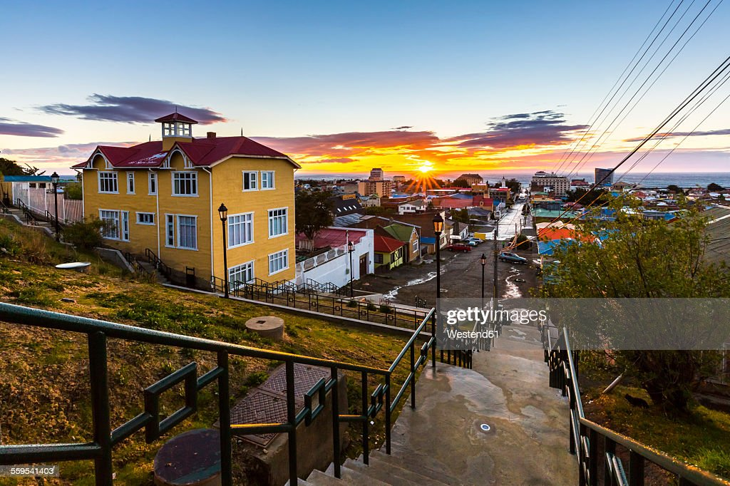 Chile, View of Punta Arenas at sunrise : Stock Photo
