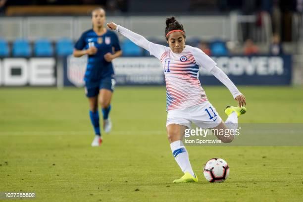Chile Women's National Football Team Midfielder Yesenia Lopez crosses the ball into the box during the United States Women's National Team against...