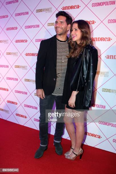 Chilean actor Arap Bethke and his girlfriend actress Ivana De María pose during the Cosmo Fashion Night Red Carpet on May 30 2017 in Mexico City...
