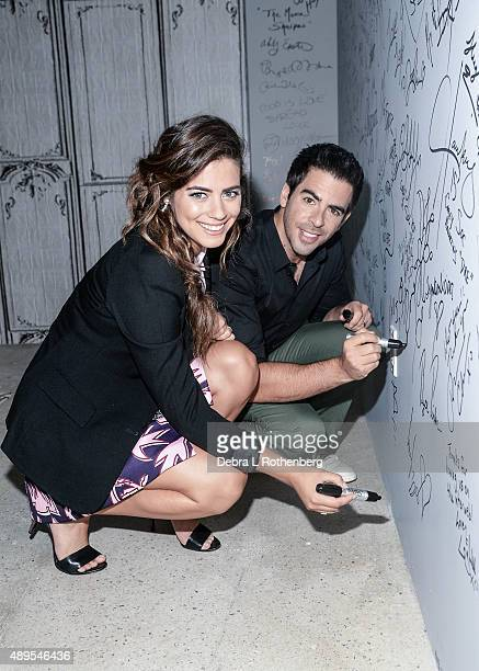 Chilean actress and model Lorenza Izzo and Filmmaker Eli Roth speak at the AOL Build Presents 'Knock Knock' at AOL Studios In New York on September...