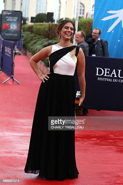 Chilean actress and model Lorenza Izzo poses on the red carpet before the screening of the movie 'Knock Knock' on September 5 during the 41th...