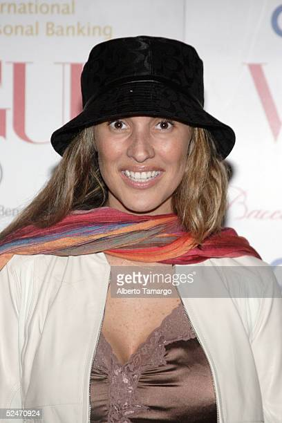 Chilean Actress Angelica Castro poses for photos at the Vogue en Espaol Hottest Designer Fashions Party on March 18 2005 in Fisher Island Florida