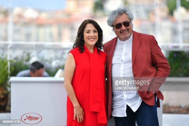 Chilean actress Paulina Garcia and Argentinian actor Claudio Rissi pose on May 26 2017 during a photocall for the film 'La Novia del Desierto' at the...
